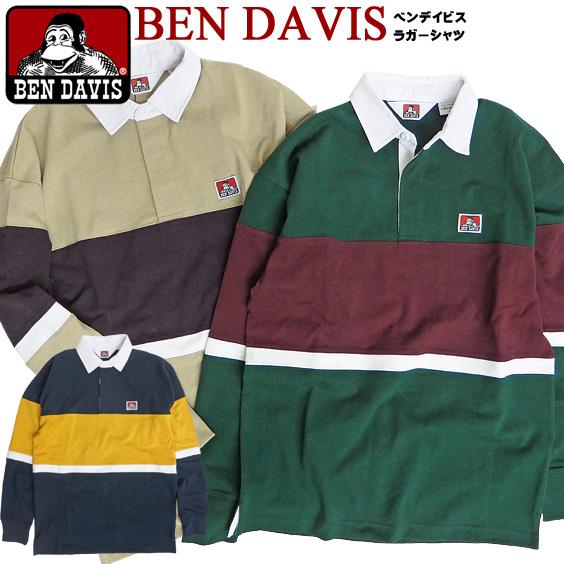 BEN DAVIS ラガーシャツ メンズ ベンデイビス ゴリラタグ 長袖 切り替え ポロシャツ マルチボーダー ラグビーシャツ ラクビー ベンデービス 2019AW ブランドタグ アメカジ ストリート カジュアル メンズファッション トップス BEN-1419