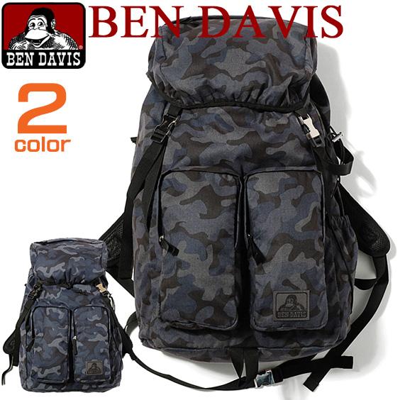 BEN DAVIS バックパック ベンデイビス リュック ベンデービス カモフラ柄のデザインがお洒落。ヒモで絞れてカジュアルに使えるメインポケット。大人っぽくてかっこいいフラップタイプのデイパックが2色展開で登場しました。BEN-784