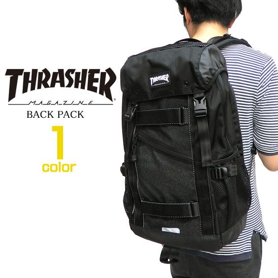 THRASHER バッグ スラッシャー ボード メンズ バックパック スラッシャーマガジン フラップリュック カバン ラバーネームタグ PCポケット付き リュックサック レディース 鞄 THRASHER-THREX502