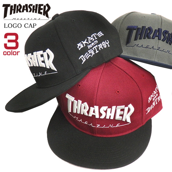 12f0c44a15e All three colors of THRASHER Capps rusher logo embroidery hat THRASHER  MAGAZINE LOGO CAP slasher magazine logo cap solid embroidery adjuster belt  product ...