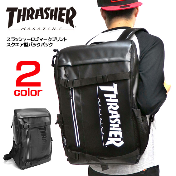 リュック THRASHER ロゴプリント スクエアリュック スラッシャー バックパック メンズ バッグ レディース デイパック スラッシャーマガジン カバン thrasher magazine 鞄 商品番号 THRASHER-THRTP504