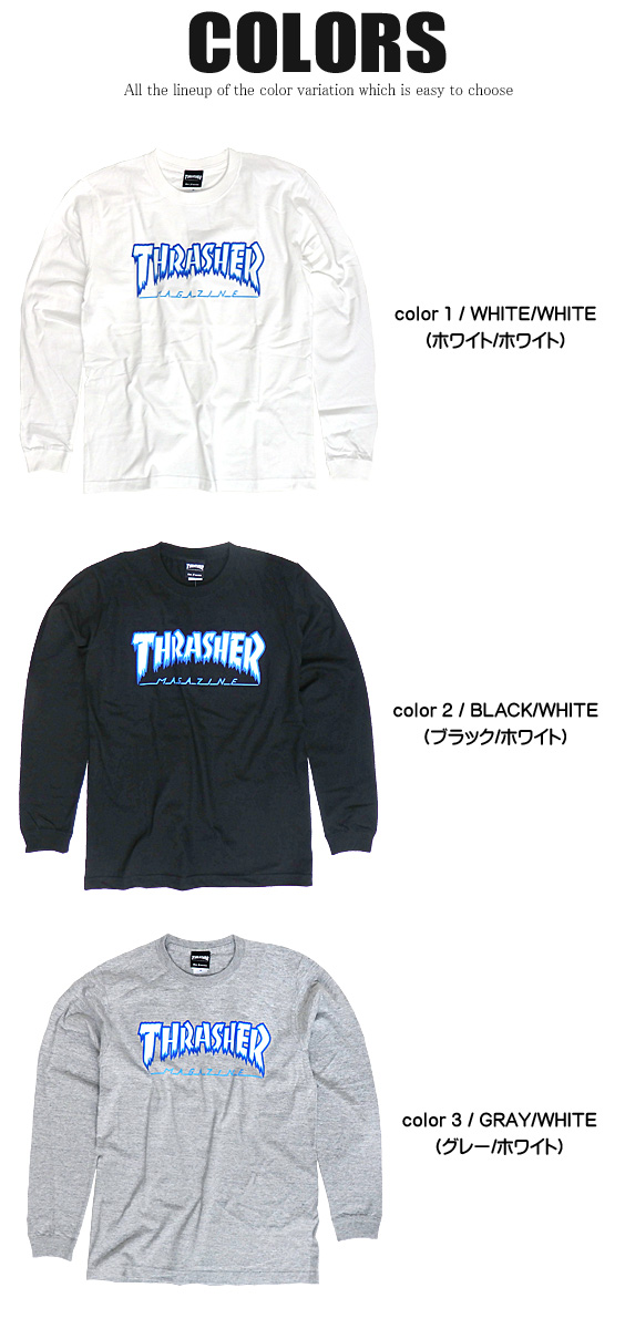 THRASHER T-shirt Ron T slasher long sleeves T-shirt ice logo men print T  crew neck thrashermagazine skater slasher magazine street fashion
