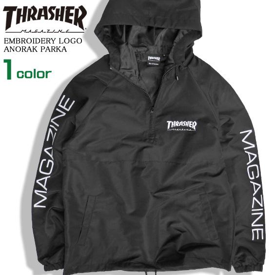 134bb13b520d THRASHER anorak parka half zip mountain parka men slasher logo embroidery  windbreaker sleeve print thrasher magazine tops skater fashion slasher  magazine ...