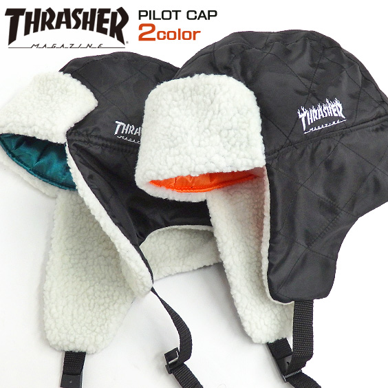 THRASHER flight cap logo embroidery pilot Capps rusher mug logo embroidery  frame logo boa ear expectation ... 3045aff5cf6