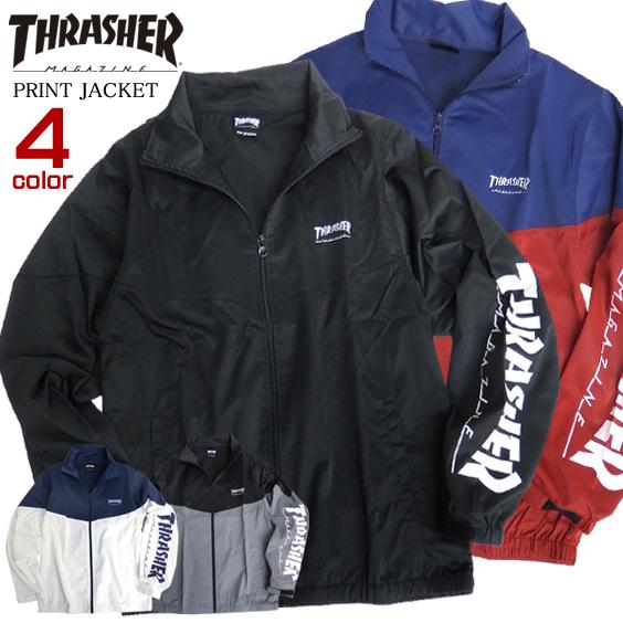 THRASHER ジャケット 袖ロゴ ブルゾン メンズ ライトアウター thrasher magazine ロゴ プリント メンズアウター スケーターファッション スラッシャーマガジン ストリートファッション THRASHER-089