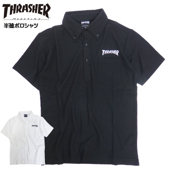 THRASHER polo shirt short sleeves slasher short sleeves polo shirt logo print thrashermagazine logo print tops breast pocket slasher magazine skater