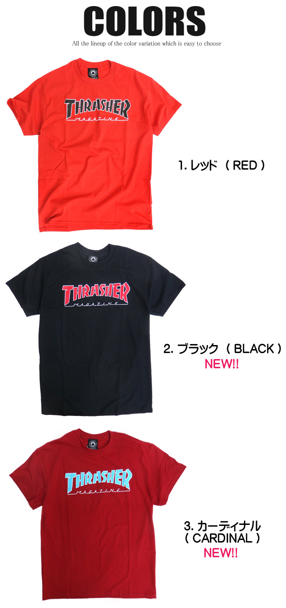 52e9a8894754 renovatio: THRASHER T-shirt short sleeves slasher T-shirt outline ...