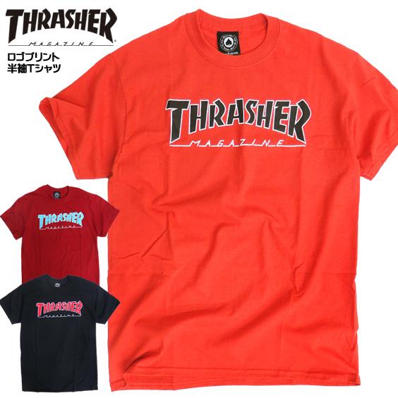 4e0c8d84feff THRASHER T-shirt short sleeves slasher T-shirt outline tuna Gosse rusher  magazine logo ...