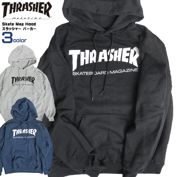 THRASHER パーカー スラッシャー スウェットパーカー SKATE MAG HOOD スケートマグ フードスウェット メンズ プルオーバー スエット 裏起毛 スラッシャーマガジン ストリート スケーター トップス THRASHER-142