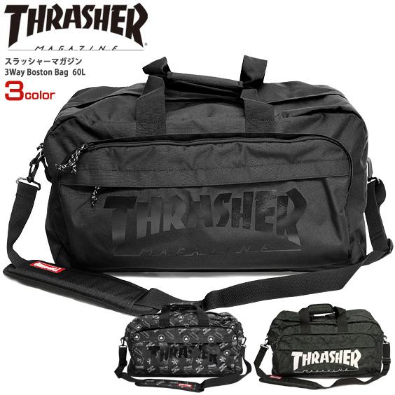 THRASHER バッグ スラッシャー ボストンバッグ スラッシャーマガジン 3WAY BOSTON BAG 60L 大容量 バックパック 撥水 旅行 カバン 通学 通勤 ショルダーバッグ スクール バック 男女兼用 鞄 THRASHER-THR-120