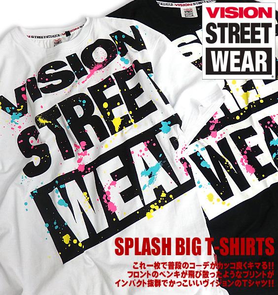 Big T-shirt vision product number VISION-004 of VISION T-shirt splashing print VISION STREET WEAR short sleeves T-shirt big logo men print T-shirt logo print street origin