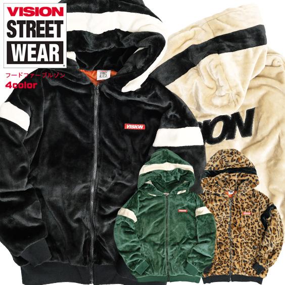 VISION フードファーブルゾン ヴィジョンストリートウェア ロゴ刺繍 ファー パーカー メンズ VISION STREET WEAR ジャケット 秋冬 もこもこ アウター ビジョン 2019AW ストリート カジュアル VISION-219