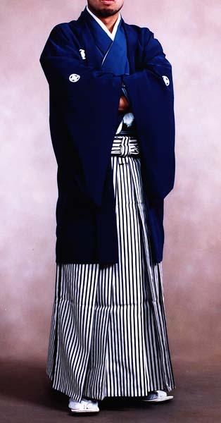 【レンタル】2020年成人式紋付袴【送料無料】袴男◆結婚式花婿紋付き袴◆成人式袴レンタル◆卒業式袴レンタル◆貸衣装紋付袴羽織袴レンタル♪紺濃淡の羽織着物メンズ成人式袴◆卒業式男袴セット