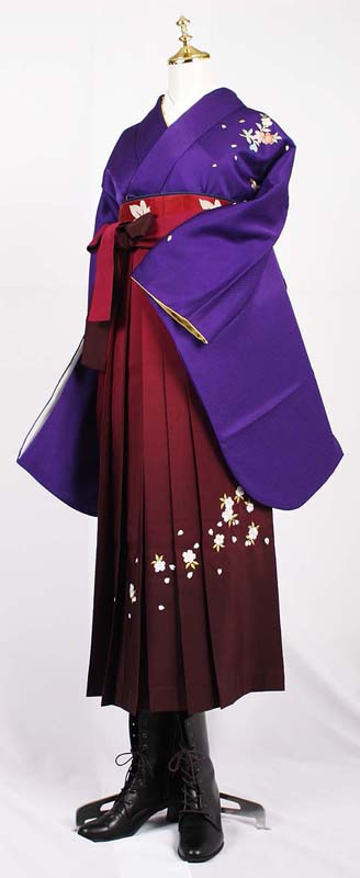 卒業式袴レンタル【送料無料】レンタル卒業袴セット紫お手頃卒業式袴セット