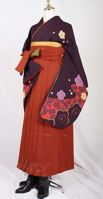卒業式袴レンタル【送料無料】卒業袴セットはんなり梅柄濃い紫お手頃レンタル卒業式袴セット