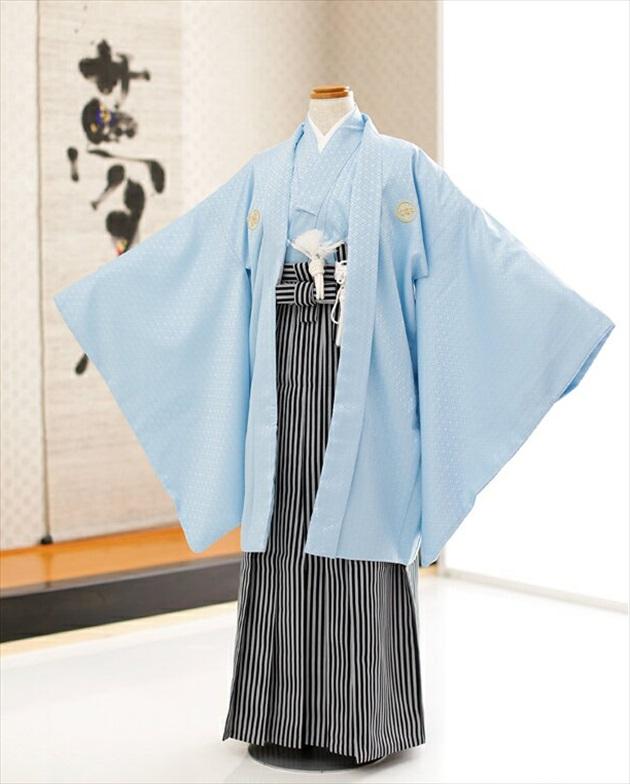 4b8f70d1dbd15 10歳前後ジュニア用 羽織袴レンタル 水色に黒グレー縞袴 d1022 単衣 ...