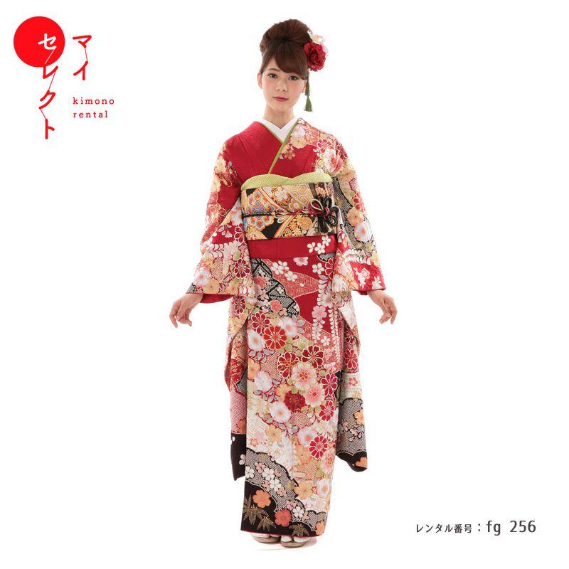 【レンタル】成人式振袖レンタル fg_256 MI-64 藤と菊 赤 絞り