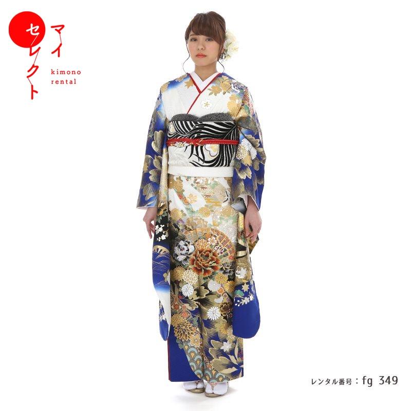 fg_349 / 桂由美 YK-344 白×青【レンタル】