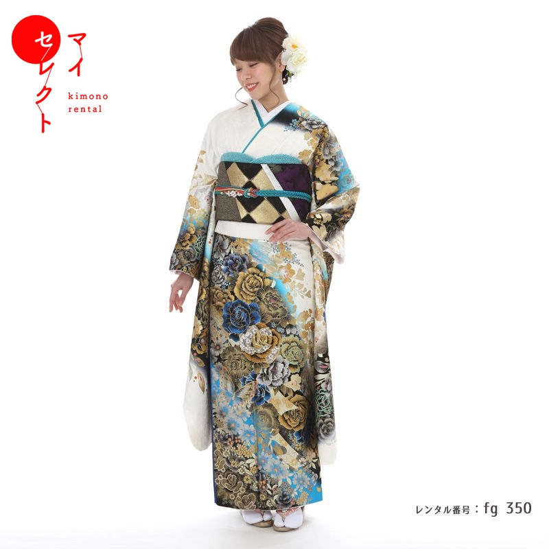 fg_350 / 桂由美 YK-242 ホワイト×ブルー【レンタル】