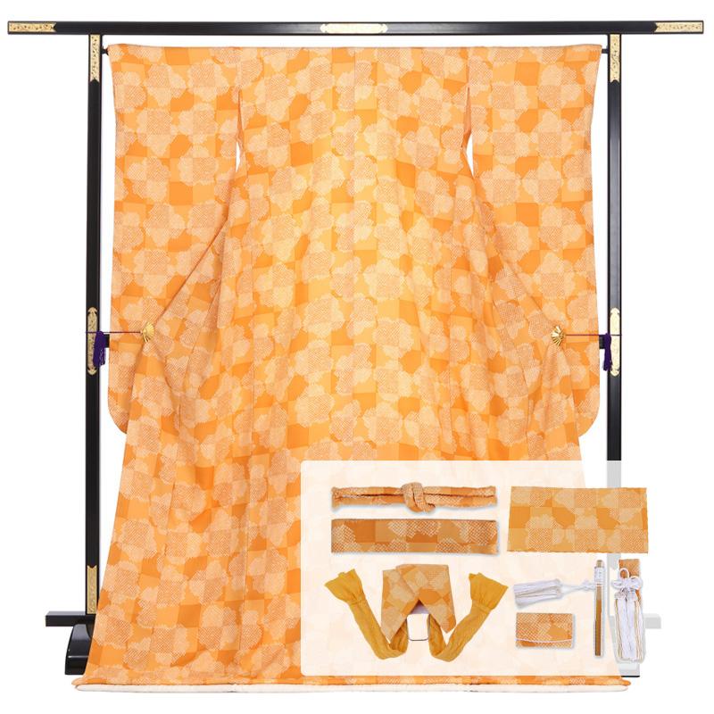 【レンタル】色打掛用掛下 オレンジ 市松×絞り柄 ハコセコセット