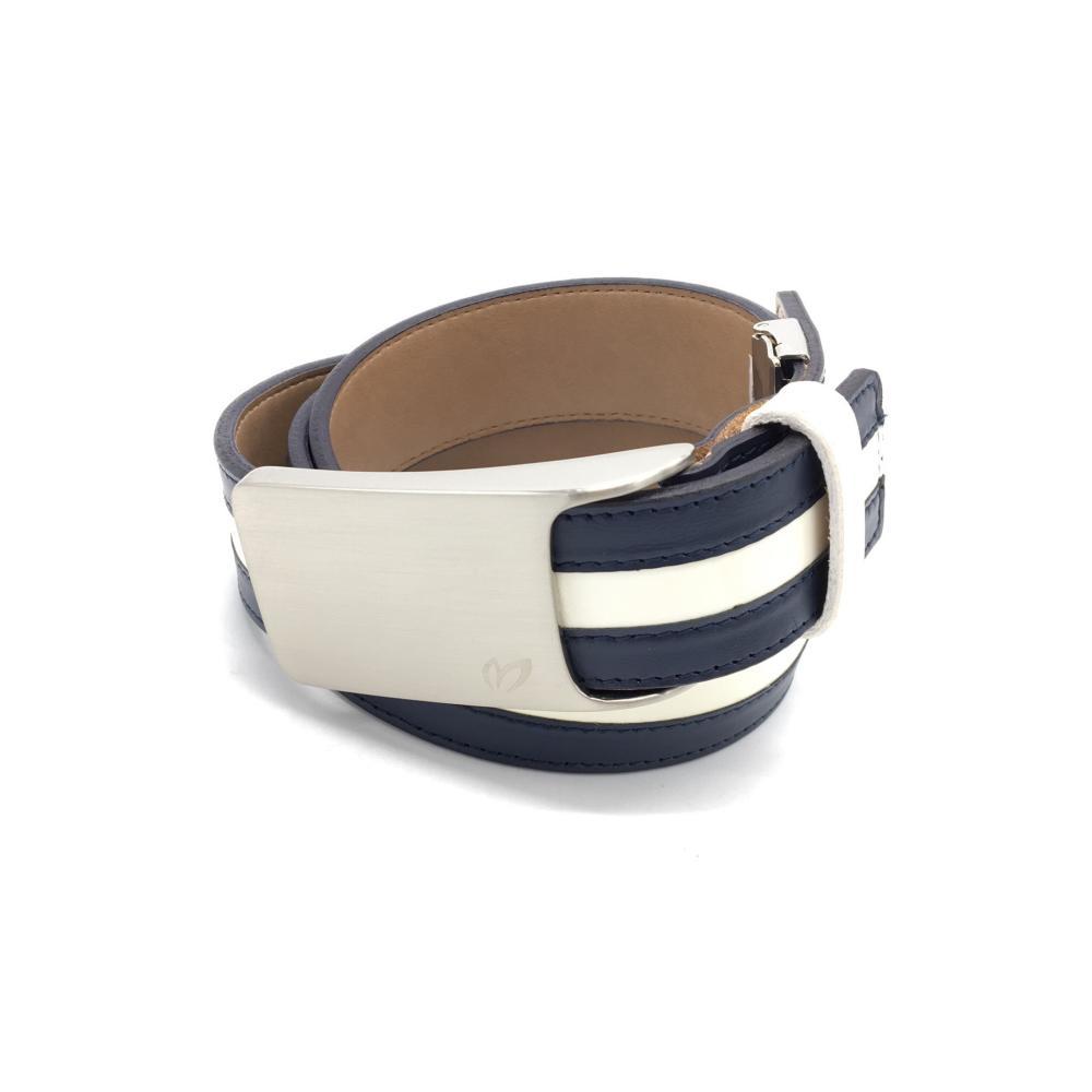 超美品 MASTER BUNNY EDITION 付与 マスターバニー トップ式ベルト メンズ 日本製 ネイビー×白 公式ショップ ゴルフウェア シルバーバックル