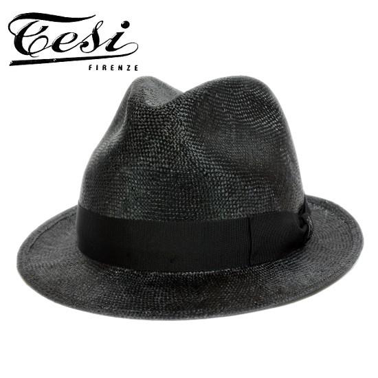 ストローハット メンズ ショートブリム イタリア tesi テシ シゾール 中折れハット ブラック黒 帽子 春 夏 大きいサイズ 小さいサイズ T1602