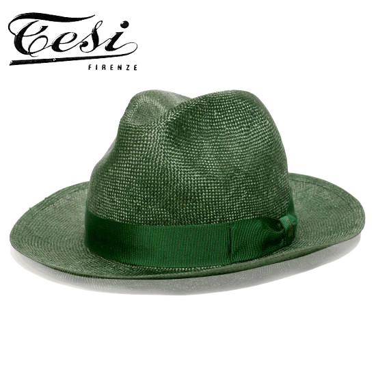 ストローハット メンズ つば広 イタリア tesi テシ シゾール 中折れハット グリーン 緑 帽子 春 夏 大きいサイズ 小さいサイズ T1601