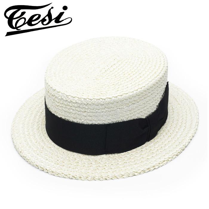 カンカン帽 メンズ 紳士 TESI テシ イタリア製 ボーターハット 帽子 ナチュラル 大きいサイズ 小さいサイズ 58 60 62 シンプル 無地 硬い フォーマル クラシカル レトロ 送料無料
