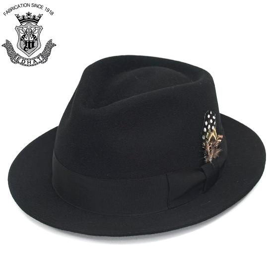 フェルトハット メンズ 中折れハット 秋冬 トラッド ラビットファー 羽根 フェルト ブラック 黒 55cm 56cm 57cm 59cm シンプル 無地 高級 大人 EDOHAT エドハット 日本製 紳士帽 中折れ帽 帽子 大きいサイズ 小さいサイズ ギフト