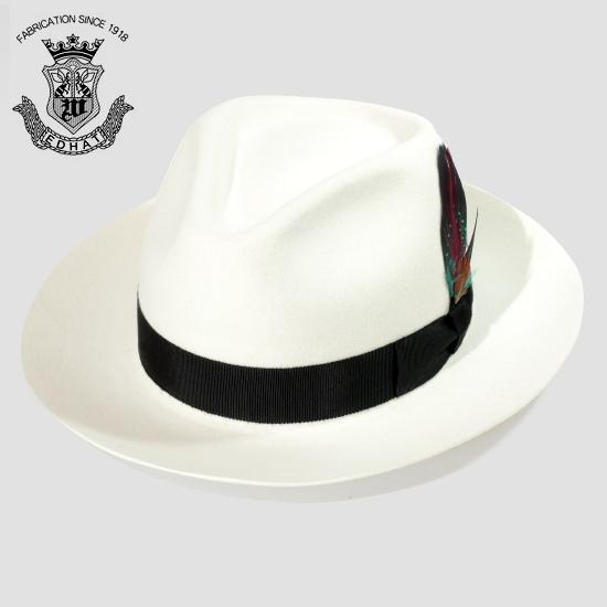 中折れハット つば広 白 ホワイト 秋冬 フェルトハット メンズ 日本製 EDHAT エドハット ウール×ラビットファー 大きいサイズ 小さいサイズ 日本製 帽子 中折れ帽