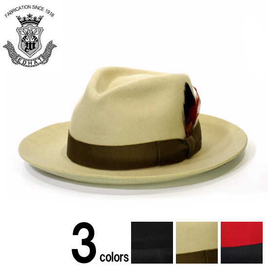 中折れハット つば広ハット メンズ 秋冬 フェルトハット 日本製 EDHAT エドハット ウール フェルト ブラック 黒 ベージュ レッド 赤 大きいサイズ 小さいサイズ 帽子