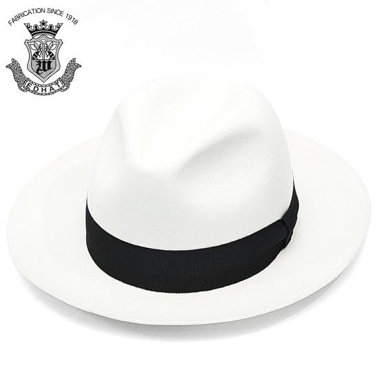 中折れハット 白 ホワイト つば広 メンズ 秋冬 ウール フェルト ハット EDO HAT エドハット 日本製 中折れ帽 大きいサイズ 小さいサイズ