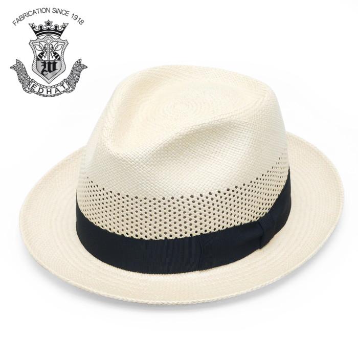 ストローハット メンズ レディース 帽子 パナマハット 春夏 ハット パナマ帽 EDHAT エドハット ベージュ ナチュラル シンプル 無地 紳士 大きいサイズ 小さいサイズ サイズ調節 フォーマル 送料無料