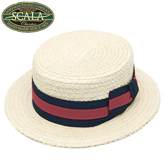 カンカン帽 メンズ 紳士 ストローハット SCALA HAT スカラハット ボーターハット ベージュ 大きいサイズ 小さいサイズ 帽子 ハット
