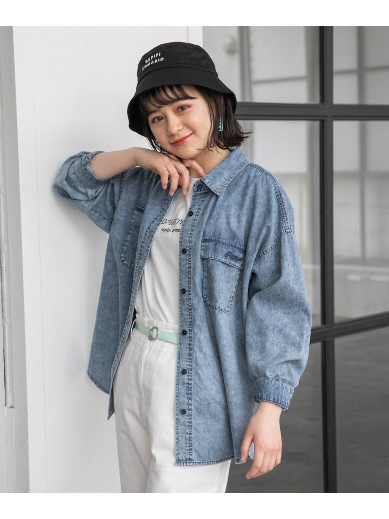 repipi armario レディース カットソー レピピアルマリオ SALE 22%OFF ポケットシシュウBIGシャツ ブルー オンラインショッピング RBA_E キッズカットソー Rakuten 期間限定 Fashion