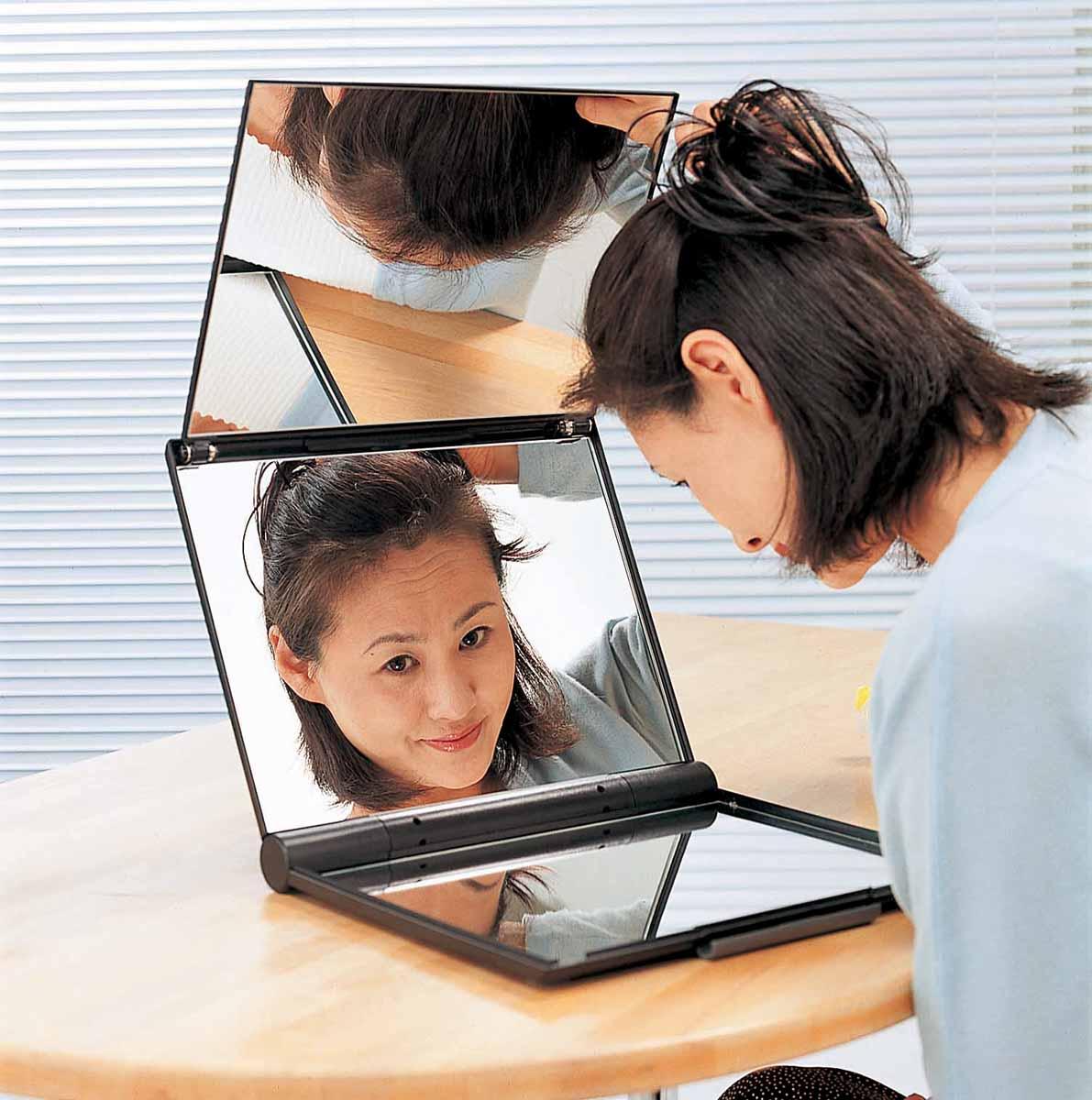 《【送料無料】 東京セイル 卓上型三面鏡スリーウエイミラー (黒)【A4-M6】  10P05Nov16