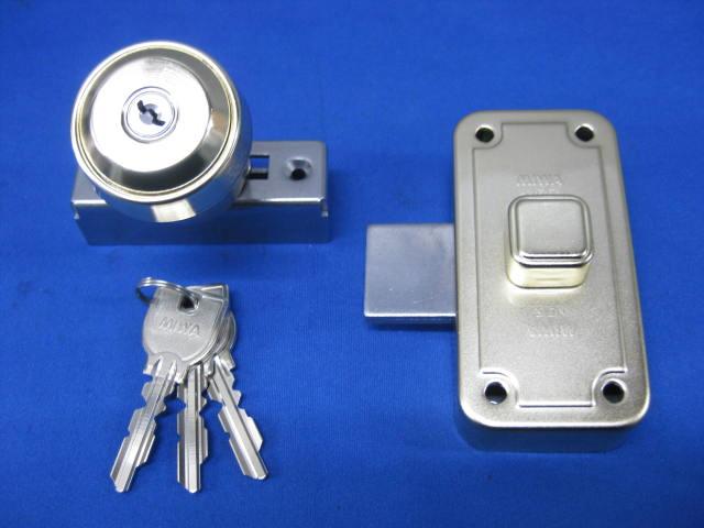 ミワロックU9-NDZ-1面付補助錠ゴールド色受座付 玄関 ドア 扉 修理 補修 交換 部品 パーツ