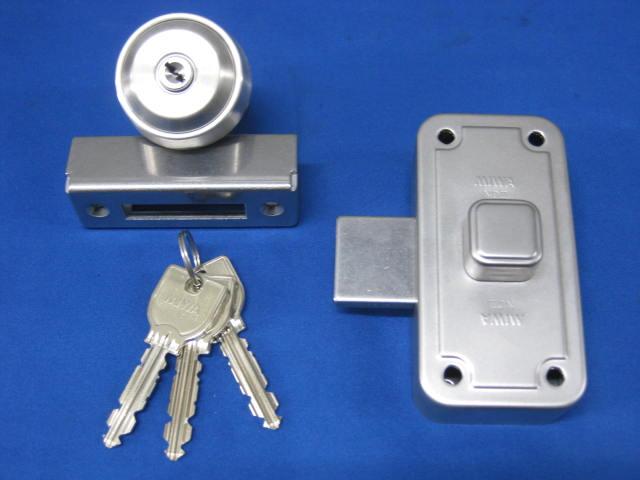 ミワロックUR-NDZ-1面付補助錠ステン色 受座付 ファクトリーアウトレット 扉厚33~42ミリ 玄関 ドア 扉 補修 修理 交換 部品 パーツ 通信販売