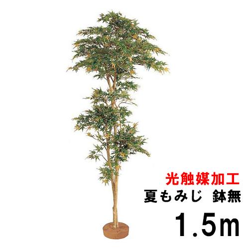 【人工植物】 【光触媒加工】 グリーンデコ 和風 夏もみじ 鉢無 1.5m