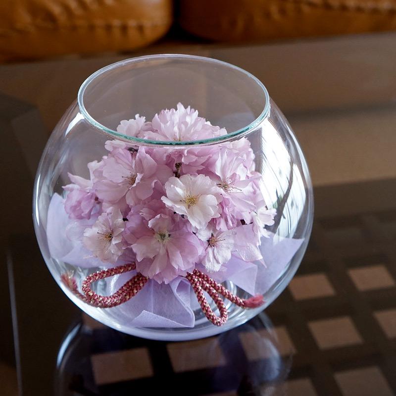 送料無料 ボトルフラワー 八重桜(ラウンド型) 組紐リボン 大サイズ 約直径16.5cm 1個 LABINKA さくら アレンジメント