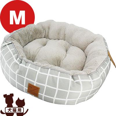 リバーシブルベッド グレー チェック M mog&bone ▼a ペット グッズ 犬 ドッグ 猫 キャット オールシーズン