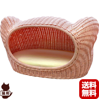 送料無料・同梱不可 ◆ラタンキティハウス ベビーピンク シンシアジャパン ▼g ペット グッズ 猫 キャット ベッド