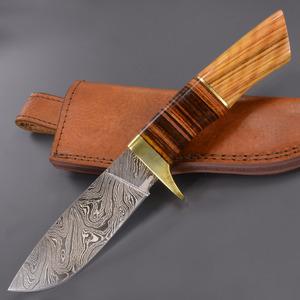 狩獵刀大馬士革鋼雙刃的 DM1100 大馬士革刃刀斯金納獵人刀狩獵拆除剝皮刀生存刀鞘