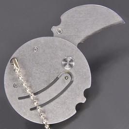 折りたたみコインナイフ ロック機能なし ボールチェーン付 [ シルバー ] 折り畳みナイフ フォルダー フォールディングナイフ ホールディングナイフ