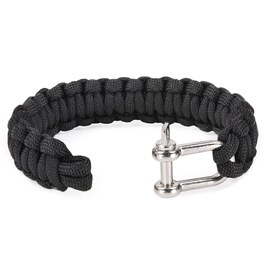 Paracord Bracelet Shackle Black Parachute Code Bangles Nylon Bracelets