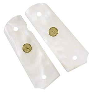 キャロムショット グリップ 45AUTO用 ホワイトパールinメダル ハンドガン カスタムパーツ カスタムグリップ