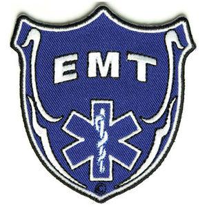 EMT 救急救命士 のワッペンシールドの中にEMTの文字とロゴがデザインされたワッペンです 本物 ワッペン シールド型 熱圧着式 絶品 ミリタリーミリタリーパッチ アップリケ 記章 徽章 EMSワッペン 襟章 EMTパッチ 消防 スリーブバッジ EMSパッチ EMTワッペン 肩章 胸章 階級章