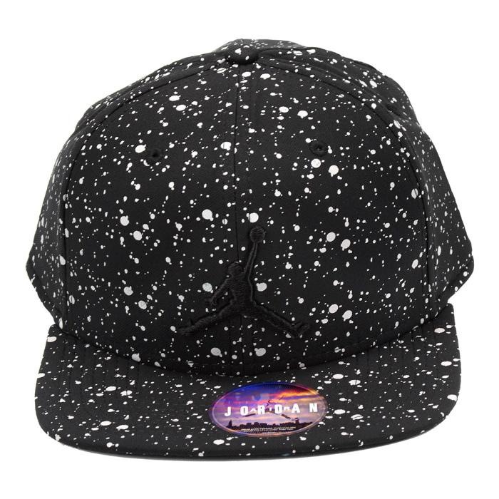 NIKE JORDAN SPECKLE PRINT SNAPBACK CAP 821830 010耐克乔丹斑点印刷突然弹回盖子帽子黑色黑