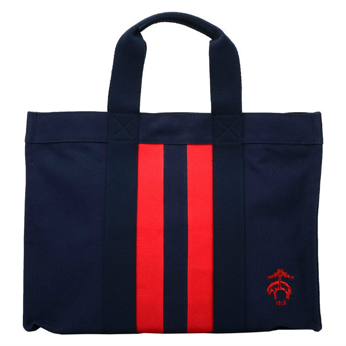 Large Black Fleece by Brooks Brothers Tote Fleece by Brooks Brothers tote bag Navy Red Canvas 68990