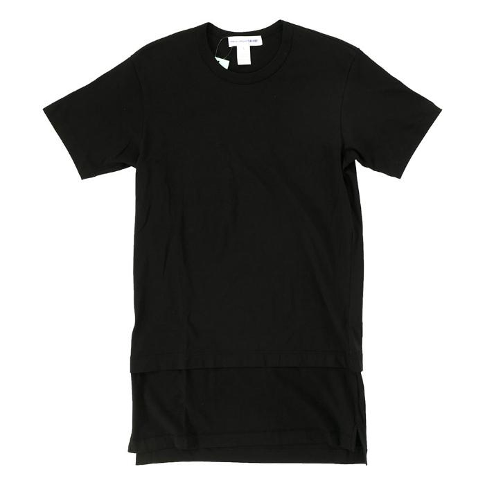 【 メンズ 】コムデギャルソン シャツ Tシャツ 半袖 無地 黒 シンプル コットン ロング丈 ブラック トップス カットソー サイドスリット COMME des GARONS SHIRT COTTON JERSEY PLAIN TEE W24106 BLK